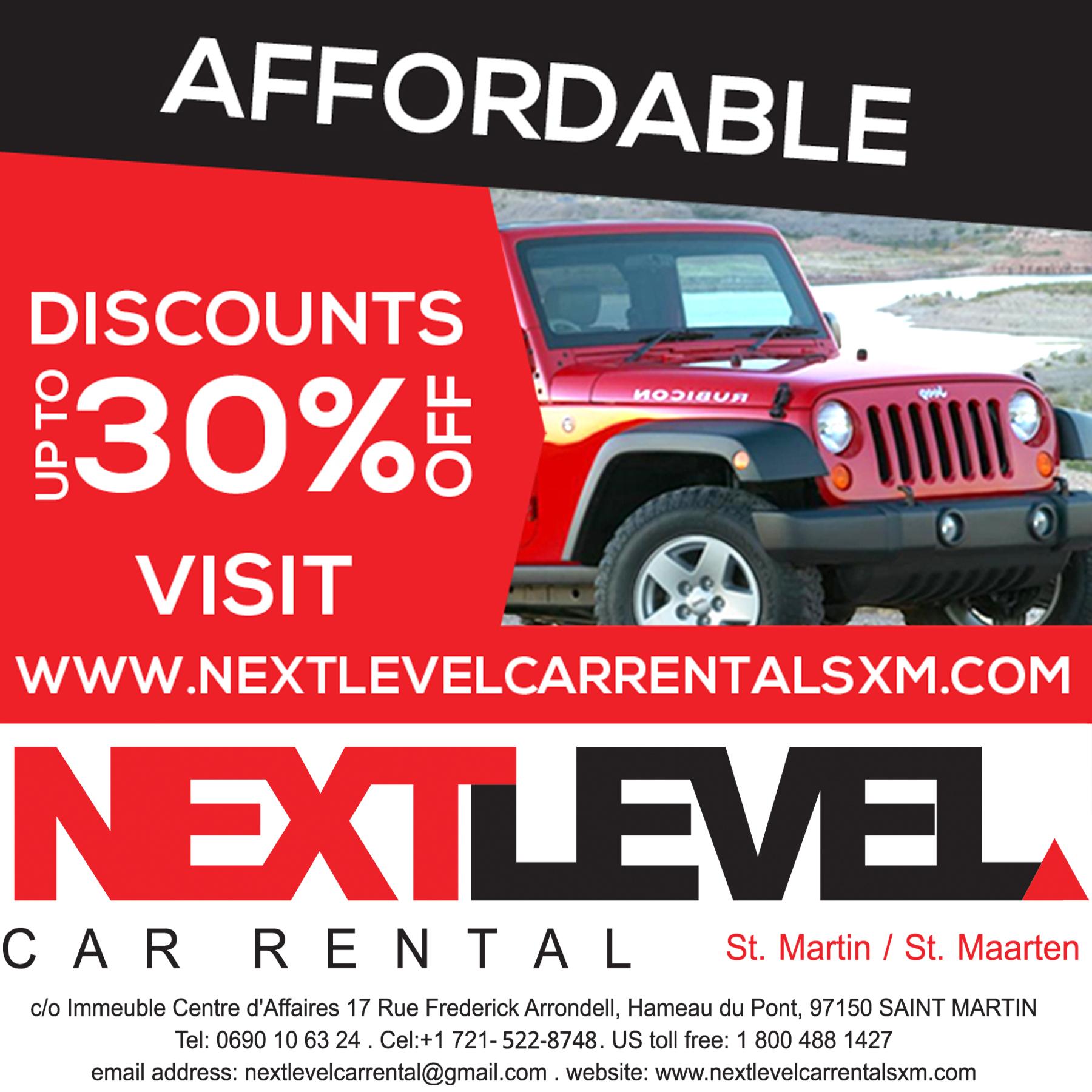 Next Level Car Rental flyer